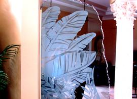 Custom Patterned Glass Palm Tree