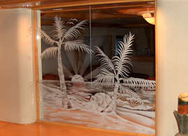 Etch Glassware Palm Tree