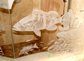 Etching Bathrooms Fish One